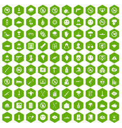 100 tension icons hexagon green vector