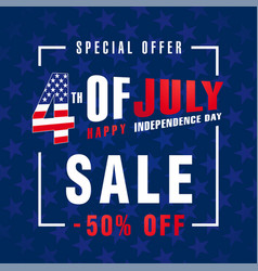 4 july independence day usa sale banner blue vector