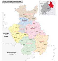 Administrative map detmold region vector