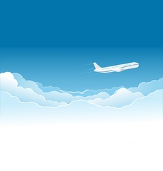 Airplane flying high in the sky vector image