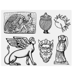 Ancient greece antique symbols ganymede and eagle vector