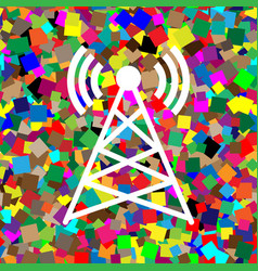 antenna sign white icon on vector image