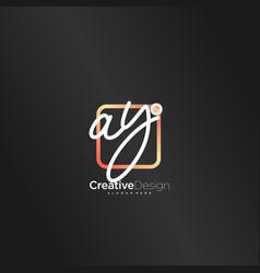 Ay initial letter handwriting logo art hand drawn vector