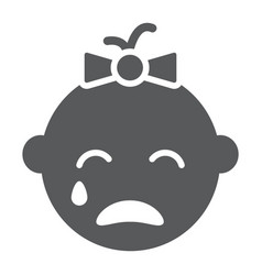 Baby girl cry glyph icon emotion and child vector