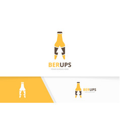 bottle and arrow up logo combination beer vector image