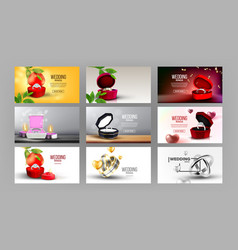 bright silver rings in box set landing page vector image
