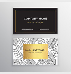 Business cards gold design tropical leaf vector