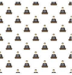 Businessman using his laptop pattern vector