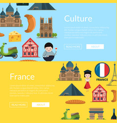cartoon france sights banners vector image