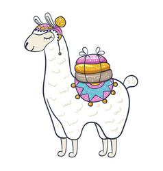 Cartoon llama pack animal cute nursery element vector