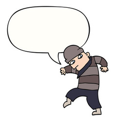 Cartoon sneaking thief and speech bubble vector