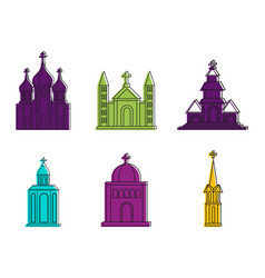 church icon set color outline style vector image