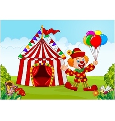 Circus tent with clown holding balloon in the gree vector