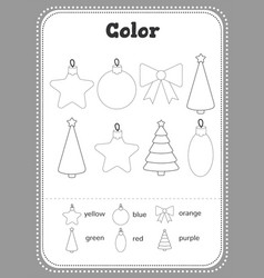 Color toddler education games with christmas tree vector