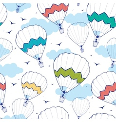 colorful ot air balloons seamless pattern vector image