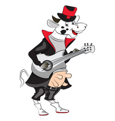 Cow playing guitar vector