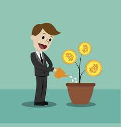 crypto-currency market businessman looking for vector image