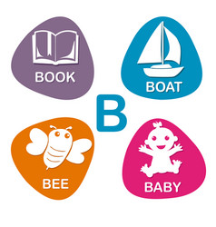 Cute alphabet in b letter for book boat vector