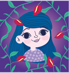Cute girl flowers branch foliage botany vector