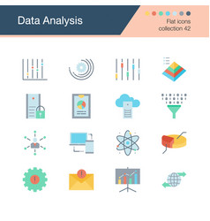 data analysis icons flat design collection 42 vector image