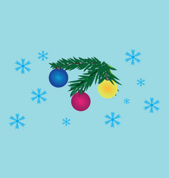Decorated toy fur-tree branch and snowflakes vector