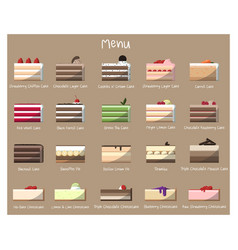 delicious cakes to taste vector image