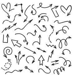 doodle arrows handwriting scribble sketch line vector image