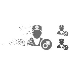 Dust pixel halftone urology doctor icon vector