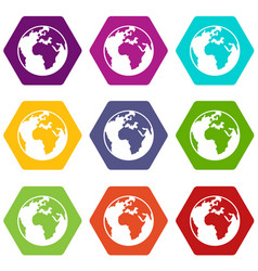 earth globe icon set color hexahedron vector image