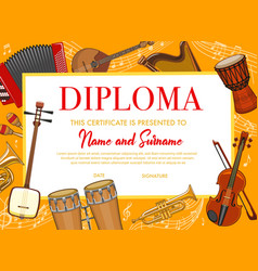 Education kids diploma with musical instruments vector