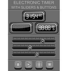 Electronic timer with sliders and buttons vector