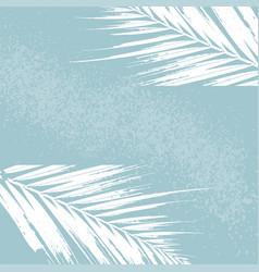 Elegant tropical palm leaves on pastel light grey vector