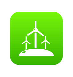 energy windmill icon green vector image