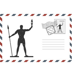 envelope with hand drawn rhodes on greece island vector image
