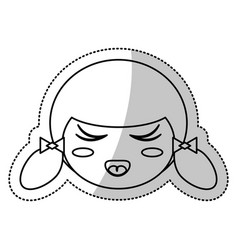 Face kokeshi culture chinese line vector