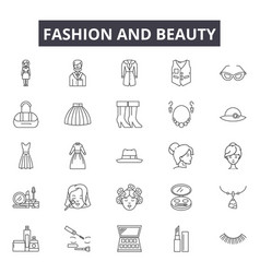 fashion and beauty line icons for web and mobile vector image