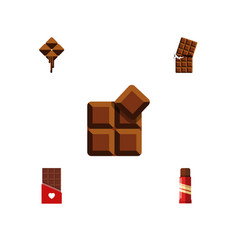 flat icon chocolate set of delicious cocoa sweet vector image