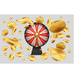 Fortune wheel with gold coins lucky roulette vector