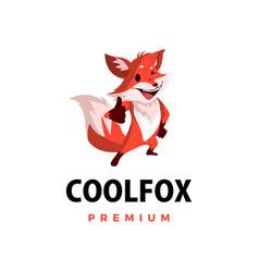 fox thumb up mascot character logo icon vector image