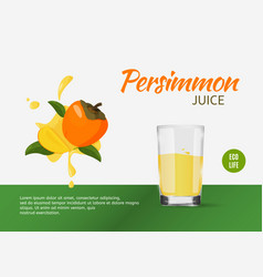 Fresh persimmon design template for ads bright vector