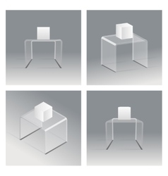 Glass rack podium shelf set 3d isometric realistic vector