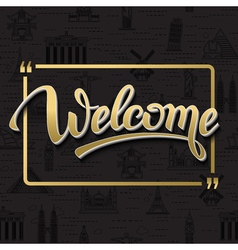 Gold signs welcome in frame vector
