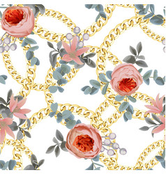 golden round check seamless pattern with flowers vector image