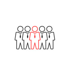 group of thin line people like leadership or vector image
