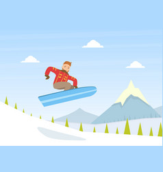 guy dressed in warm clothing jumping vector image