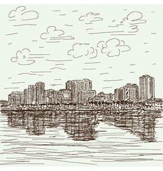 Hand-drawn cityscape vector