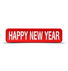 Happy new year red 3d square button on white vector