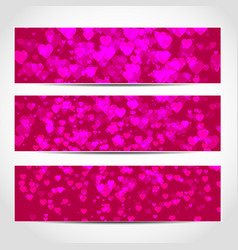 happy valentines day banners with pink hearts vector image