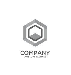 Hexagon grey color logo concept vector