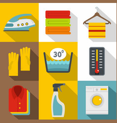 Housework icons set flat style vector